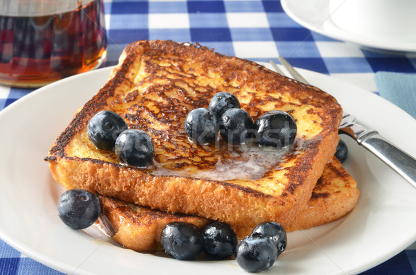 French toast and blueberries closeup Stock photo © MSPhotographic