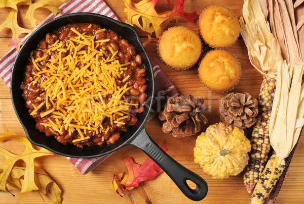 Chili in a cast iron skillet Stock photo © MSPhotographic