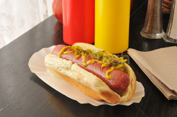 Hot dog with mustard and relish Stock photo © MSPhotographic