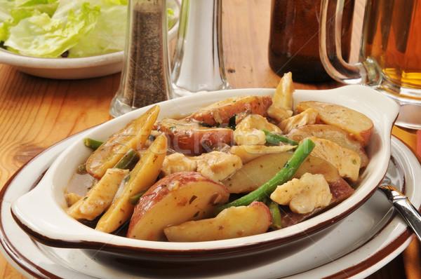 Pollo patatas rojo ejotes alimentos ensalada Foto stock © MSPhotographic