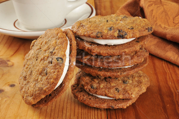 Cream filled oatmeal molasses cookies Stock photo © MSPhotographic