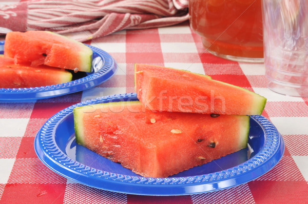 Watermeloen vers picknicktafel vruchten Stockfoto © MSPhotographic