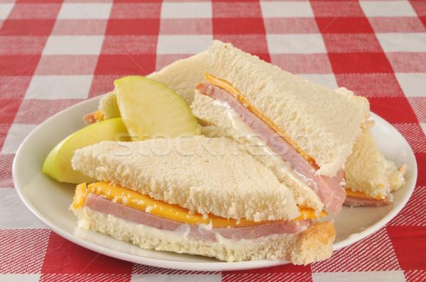 Schinken K Se Sandwich Picknick Tisch Apfel Glas