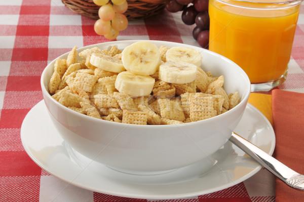 Ontbijtgranen kom rijst glas sinaasappelsap vruchten Stockfoto © MSPhotographic