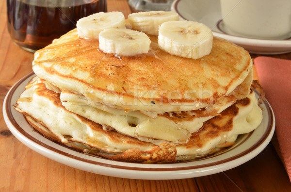 Home cooked pancakes with bananas Stock photo © MSPhotographic