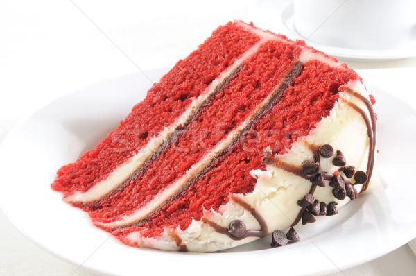 Rouge velours gâteau tranche élevé clé Photo stock © MSPhotographic