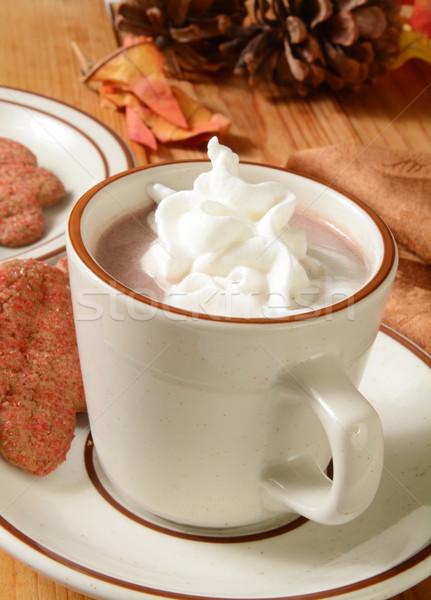 Chocolate caliente taza crema batida cookies chocolate beber Foto stock © MSPhotographic