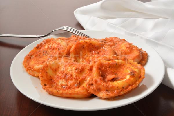Queijo ravioli recheado parmesão tomates manjericão Foto stock © MSPhotographic