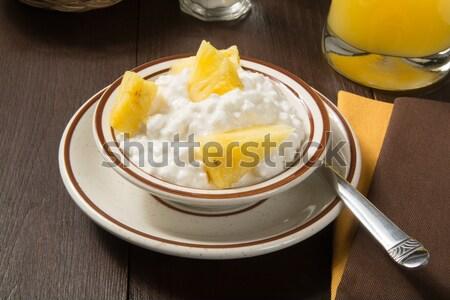 Túró ananász tál friss gyümölcs ital Stock fotó © MSPhotographic