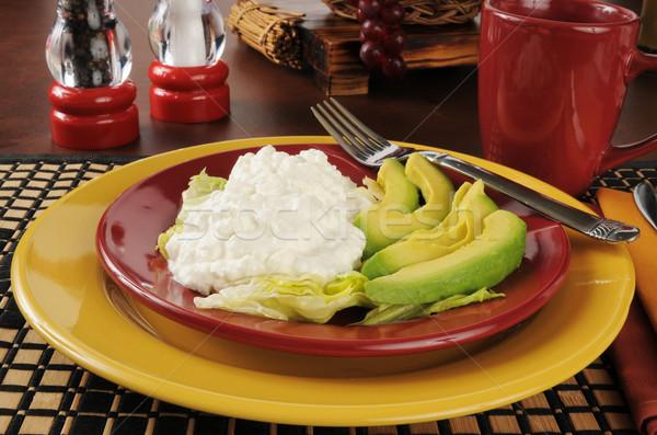 Süzme peynir avokado salata meyve diyet kulübe Stok fotoğraf © MSPhotographic