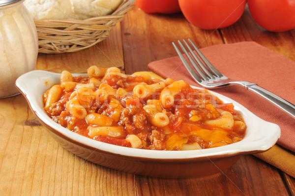 Macaroni rundvlees klein schotel tomatensaus vruchten Stockfoto © MSPhotographic