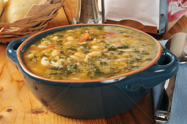 White bean and kale soup Stock photo © MSPhotographic