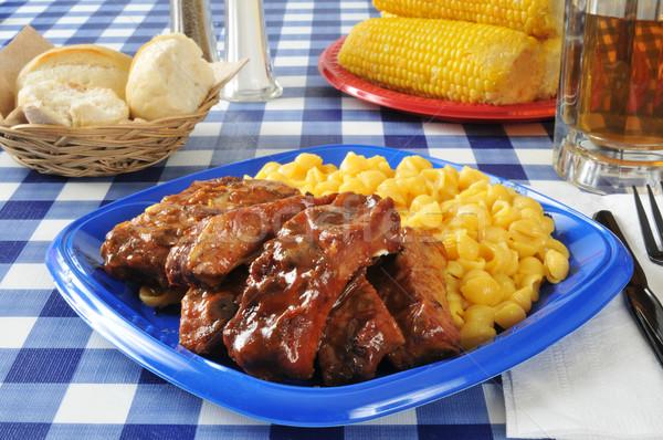 Macarrones queso mesa de picnic vidrio carne Foto stock © MSPhotographic