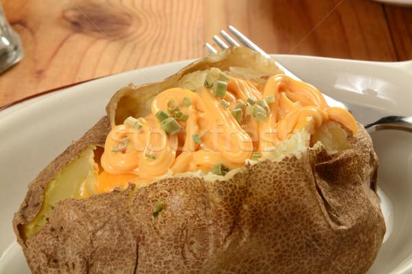 Batata queijo cebolinha comida Foto stock © MSPhotographic