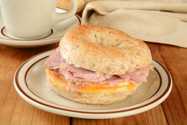 Ham and cheese bagel Stock photo © MSPhotographic