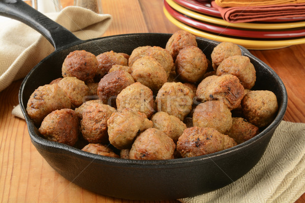 Meatballs in a cast iron skillet Stock photo © MSPhotographic