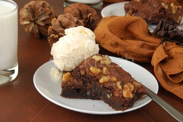Chocolate fudge brownies with nuts Stock photo © MSPhotographic
