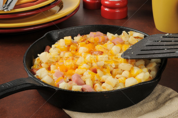 Diced ham and potatoes with cheddar cheese Stock photo © MSPhotographic