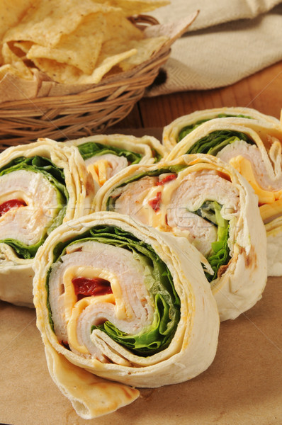 Turkey and cheese wrap sandwiches Stock photo © MSPhotographic