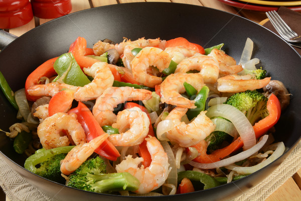 Shrimp stir fry in a wok Stock photo © MSPhotographic
