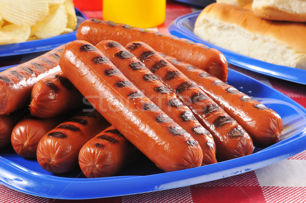 Picnic plate of grilled hot dogs Stock photo © MSPhotographic