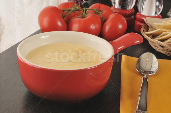 Stock fotó: Krém · brokkoli · leves · tál · krumpli · sajt