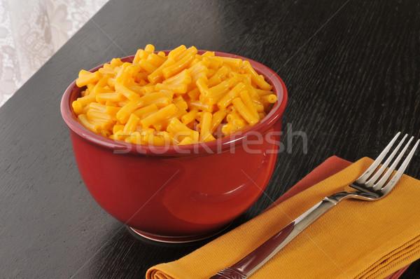 Macaroni kaas kom Rood eenvoudige diner Stockfoto © MSPhotographic