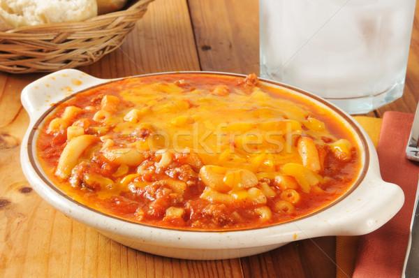 Macaroni rundvlees kom cheddar kaas vruchten Stockfoto © MSPhotographic