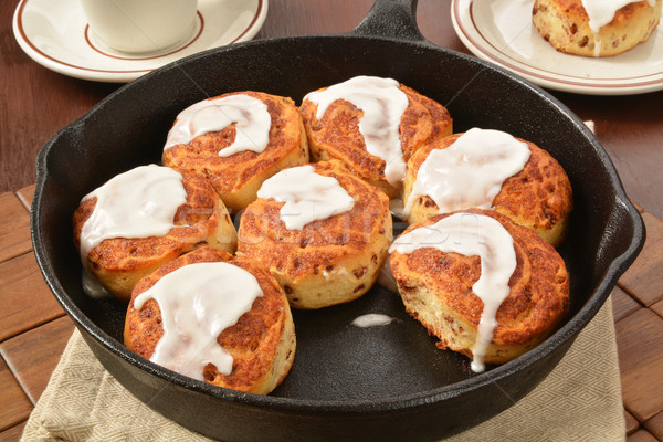 Cast iron skillet cinnamon rolls Stock photo © MSPhotographic
