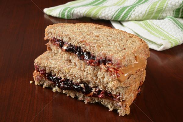 Mogyoróvaj zselé szendvics vág fél Stock fotó © MSPhotographic