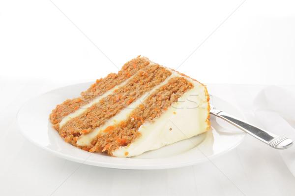 Bolo de cenoura fatia alto chave comida Foto stock © MSPhotographic