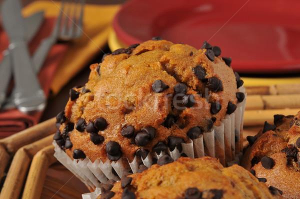Chocolate chip muffins Stock photo © MSPhotographic