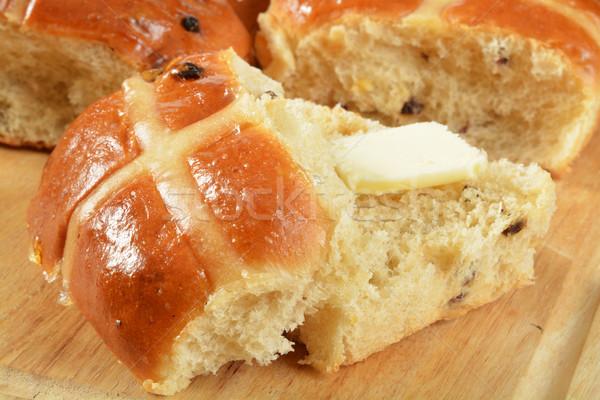Buttered hot cross bun Stock photo © MSPhotographic