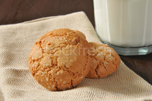Cookies молоко миндаль имбирь стекла Сток-фото © MSPhotographic