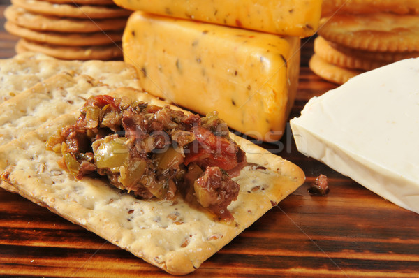 Olive brushchetta with crackers Stock photo © MSPhotographic