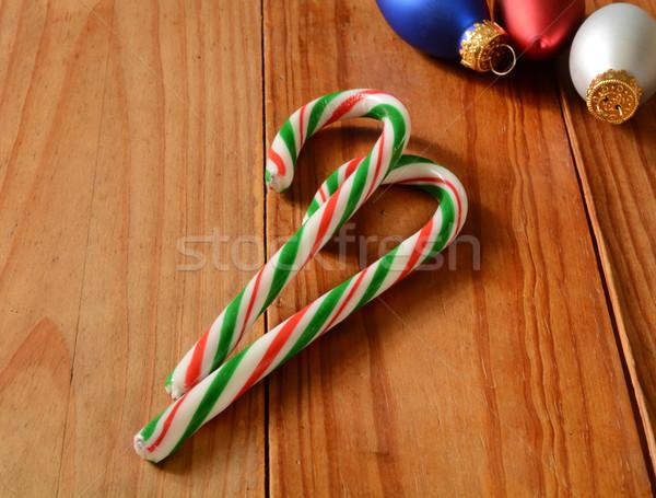 Candy Holz Weihnachten Ornamente Raum kopieren Stock foto © MSPhotographic
