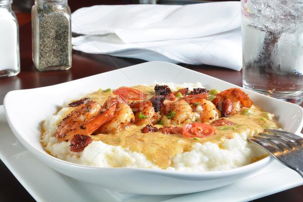 Karides sebze tereyağı sos akşam yemeği kırmızı Stok fotoğraf © MSPhotographic