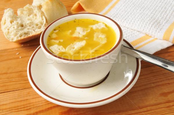 Stok fotoğraf: Fincan · tavuk · çorba · akşam · yemeği · rulo