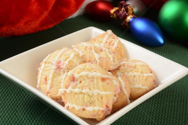 Menthe poivrée Noël cookies bonbons vacances plat Photo stock © MSPhotographic