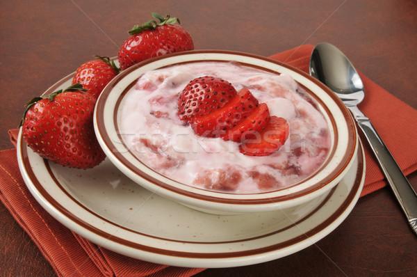 Greek yogurt with strawberry topping Stock photo © MSPhotographic