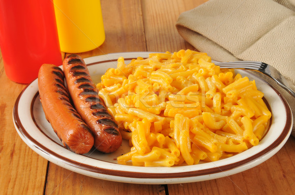 Grilled hot dogs with mac and cheese Stock photo © MSPhotographic