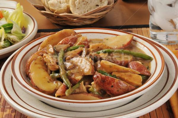 鶏 ジャガイモ ボウル 赤 ストックフォト © MSPhotographic
