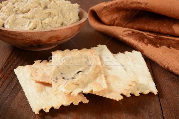 Flatbread crackers with hummus Stock photo © MSPhotographic
