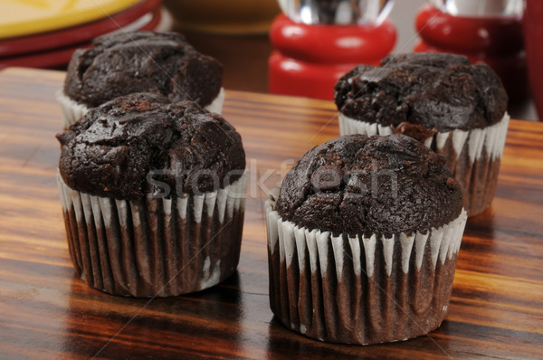Doubler chocolat mini muffins puce boucher Photo stock © MSPhotographic