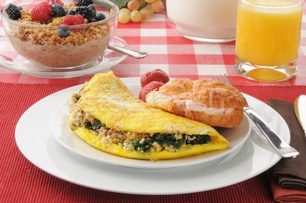 Spenót fetasajt étel narancs tej tojások Stock fotó © MSPhotographic
