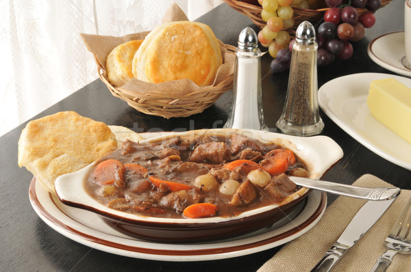 Beef stew and biscuits Stock photo © MSPhotographic