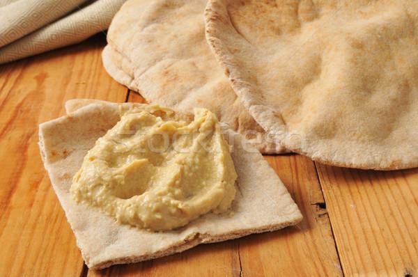 Pita kenyér fokhagyma fűszer egész gabona Stock fotó © MSPhotographic