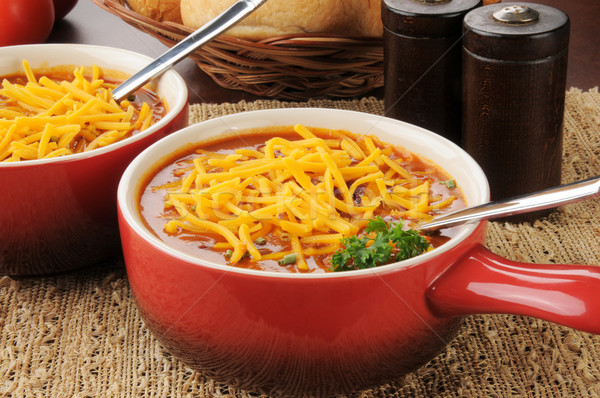 Chili con carne topped with cheese Stock photo © MSPhotographic