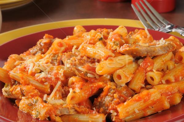 Italian sausage and meatballs on rigatoni Stock photo © MSPhotographic