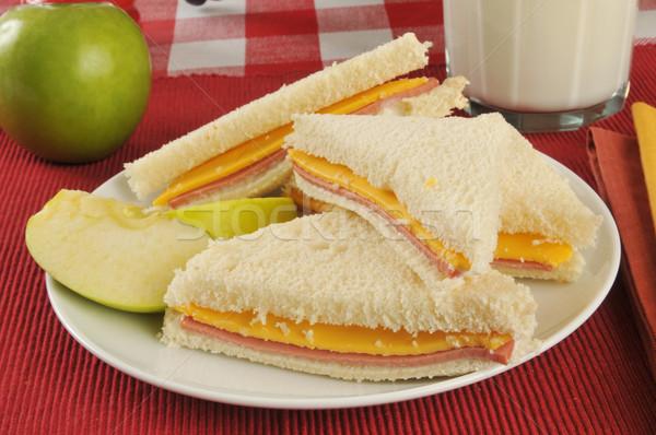 ハム チーズ サンドイッチ リンゴ ミルク 緑 ストックフォト © MSPhotographic